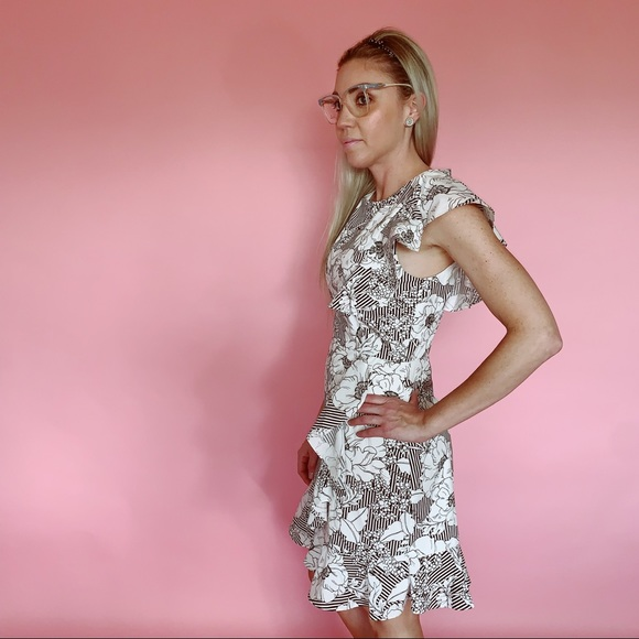 Charles Henry Dresses & Skirts - Charles Henry Floral & Striped Design Ruffle Dress